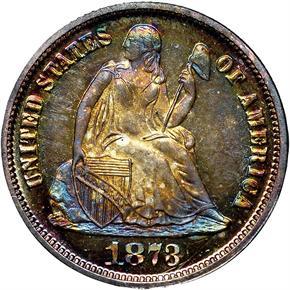 1873 CL 3 NO ARROWS 10C PF obverse