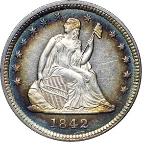 1842 LARGE DATE 25C MS obverse