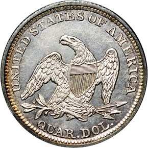 1842 LARGE DATE 25C MS reverse