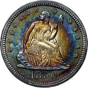 1850 25C MS obverse