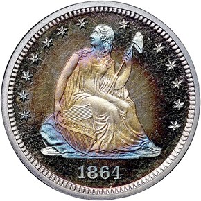 1864 25C PF obverse