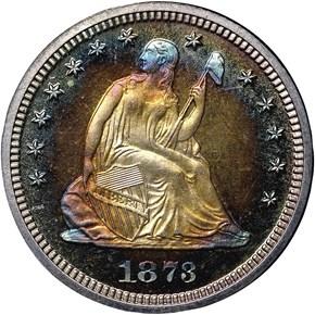 1873 CL 3 NO ARROWS 25C PF obverse