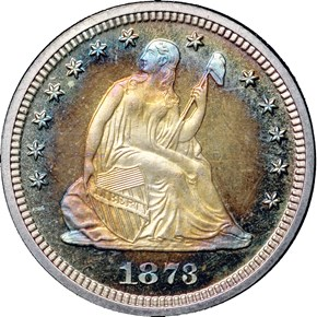 1873 CL 3 NO ARROWS 25C PF obverse