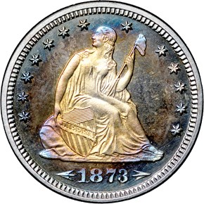 1873 ARROWS 25C PF obverse