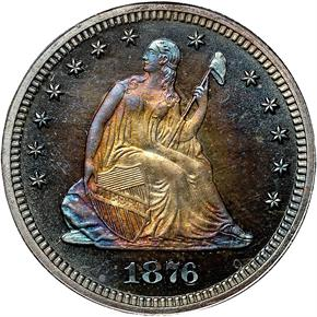 1876 25C PF obverse