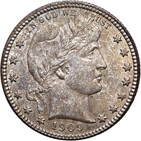 1909 D 25C MS obverse