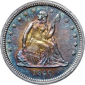 1840 DRAPERY 25C MS obverse