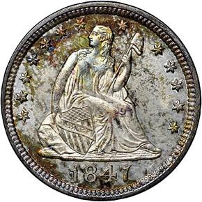 1847 25C MS obverse