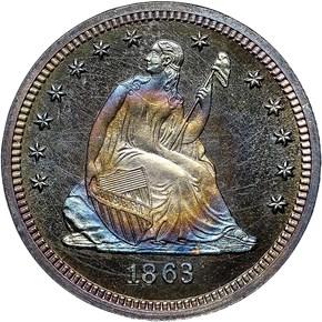 1863 25C PF obverse