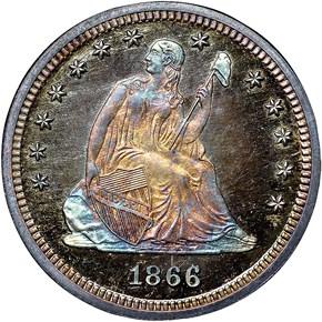1866 MOTTO 25C PF obverse