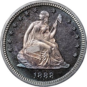 1888 25C PF obverse
