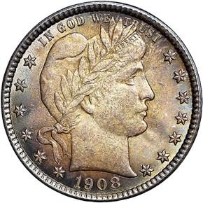 1908 O 25C MS obverse