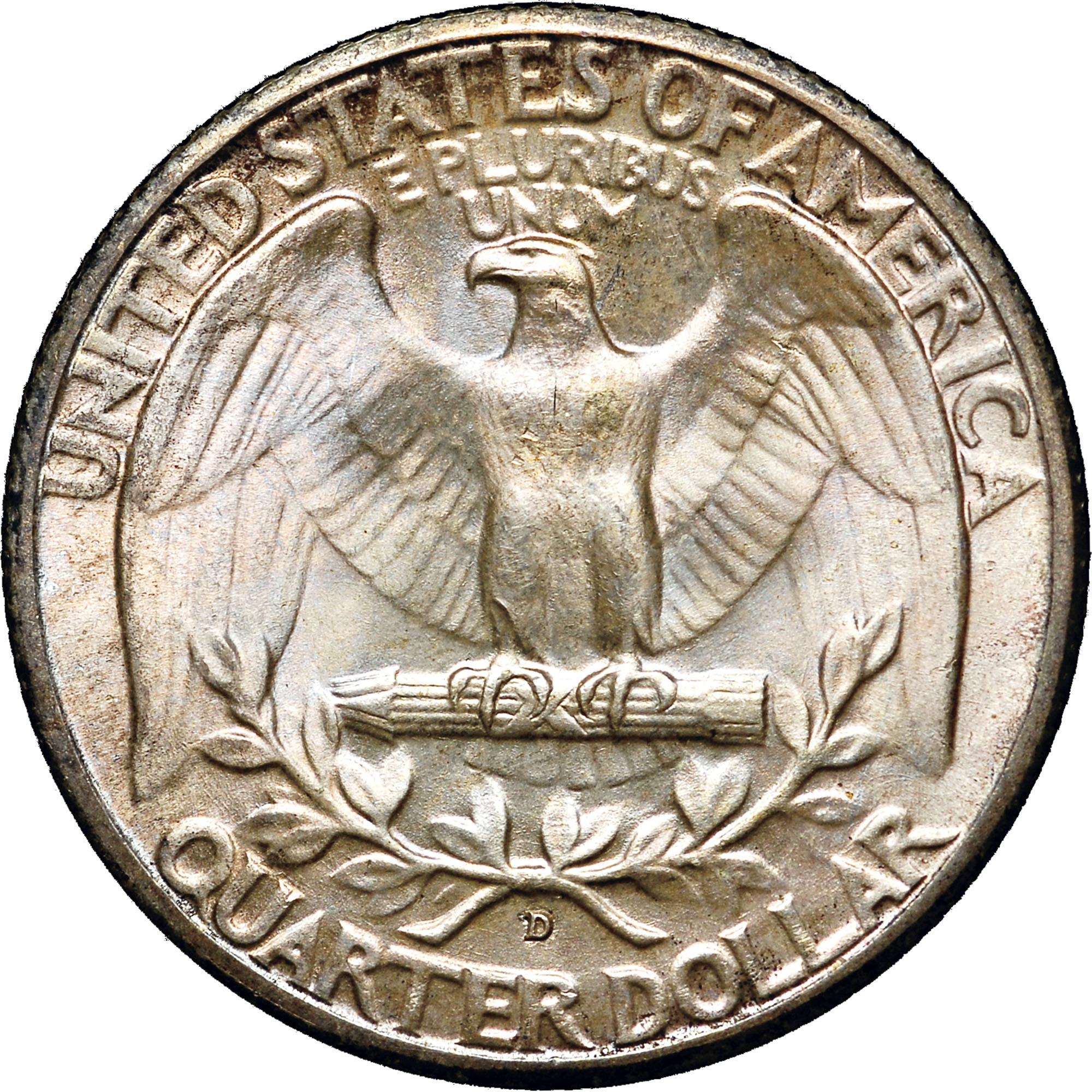 1937 D 25c Washington Silver Quarter US Coin Average Circulated