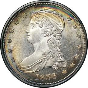 1836 REEDED GR-1 50C MS obverse