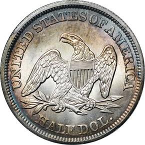 1842 MEDIUM DATE 50C MS reverse
