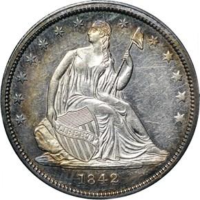 1842 SM DATE LG LET 50C MS obverse