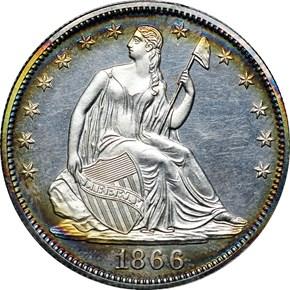 1866 MOTTO 50C PF obverse