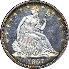 1867 50C PF obverse