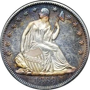 1869 50C PF obverse