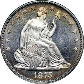1875 50C PF obverse