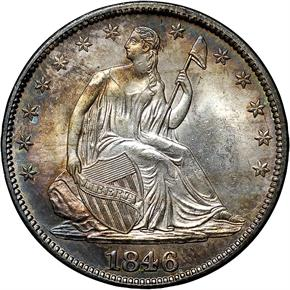1846 MEDIUM DATE 50C MS obverse