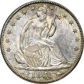 1855 ARROWS 50C MS obverse