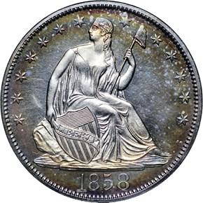 1858 50C PF obverse