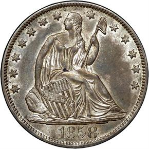 1858 O 50C MS obverse