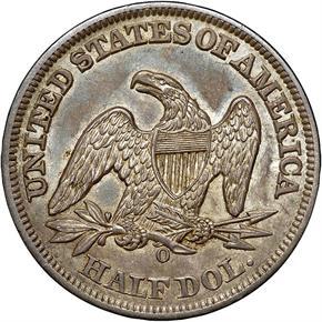 1858 O 50C MS reverse