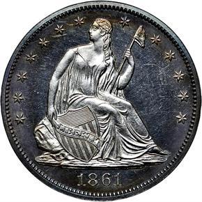 1861 50C PF obverse