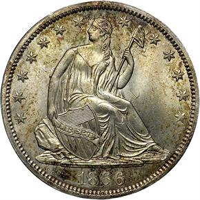 1866 S NO MOTTO 50C MS obverse