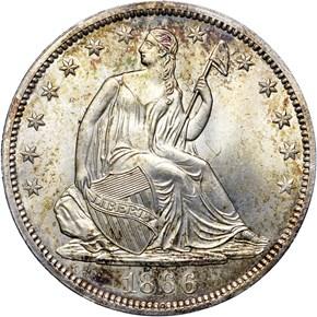 1866 S NO MOTTO 50C MS obverse