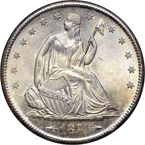 1874 S ARROWS 50C MS obverse