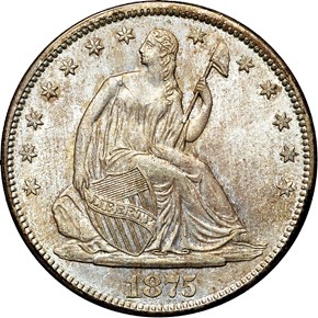 1875 S 50C MS obverse