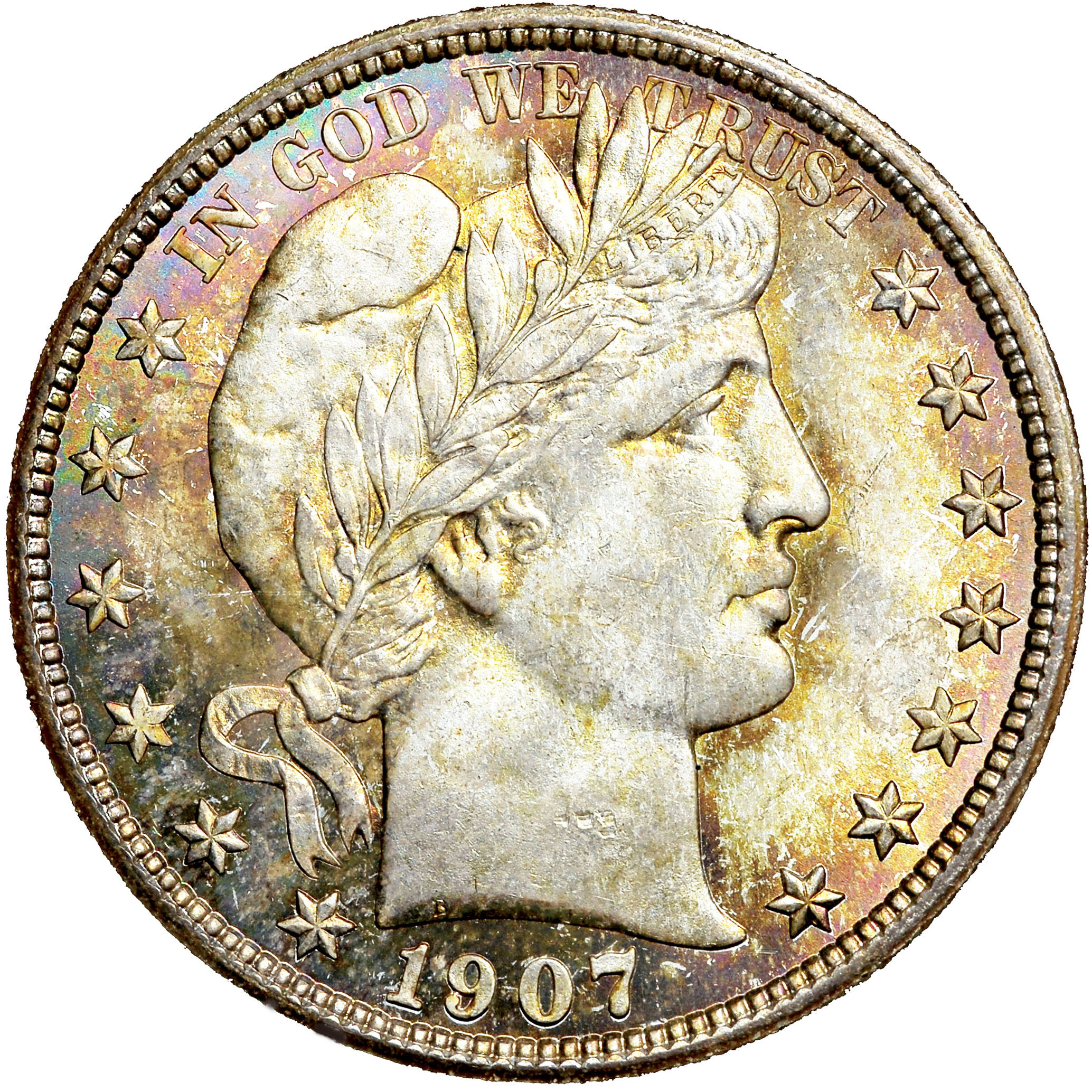 1907-O 50c Barber Silver Half Dollar Average Circulated