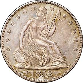 1853 O ARR & RAYS 50C MS obverse
