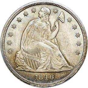 1846 $1 MS obverse