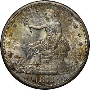 1875 S T$1 MS obverse