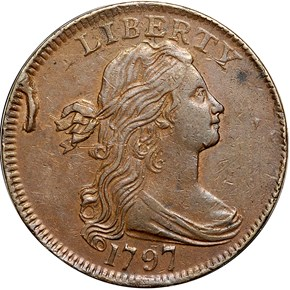1797 NO STEM REV OF 97 1C MS obverse