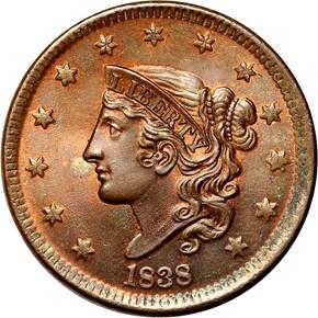 1838 1C MS obverse