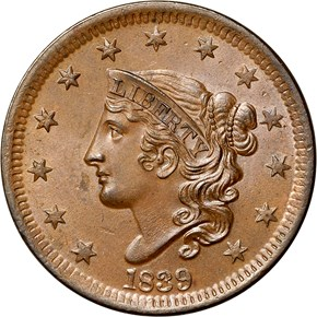 1839 HEAD OF 38 1C MS obverse