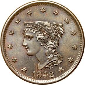 1842 1C MS obverse