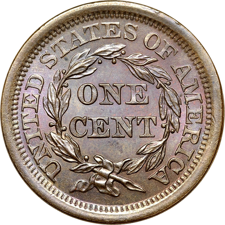 1843 1C MS obverse · 1843 1C MS reverse