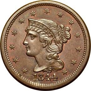 1844 1C MS obverse