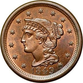 1849 1C MS obverse