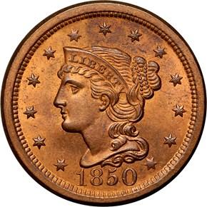 1850 1C MS obverse