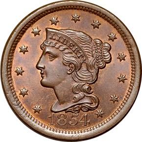 1854 1C MS obverse