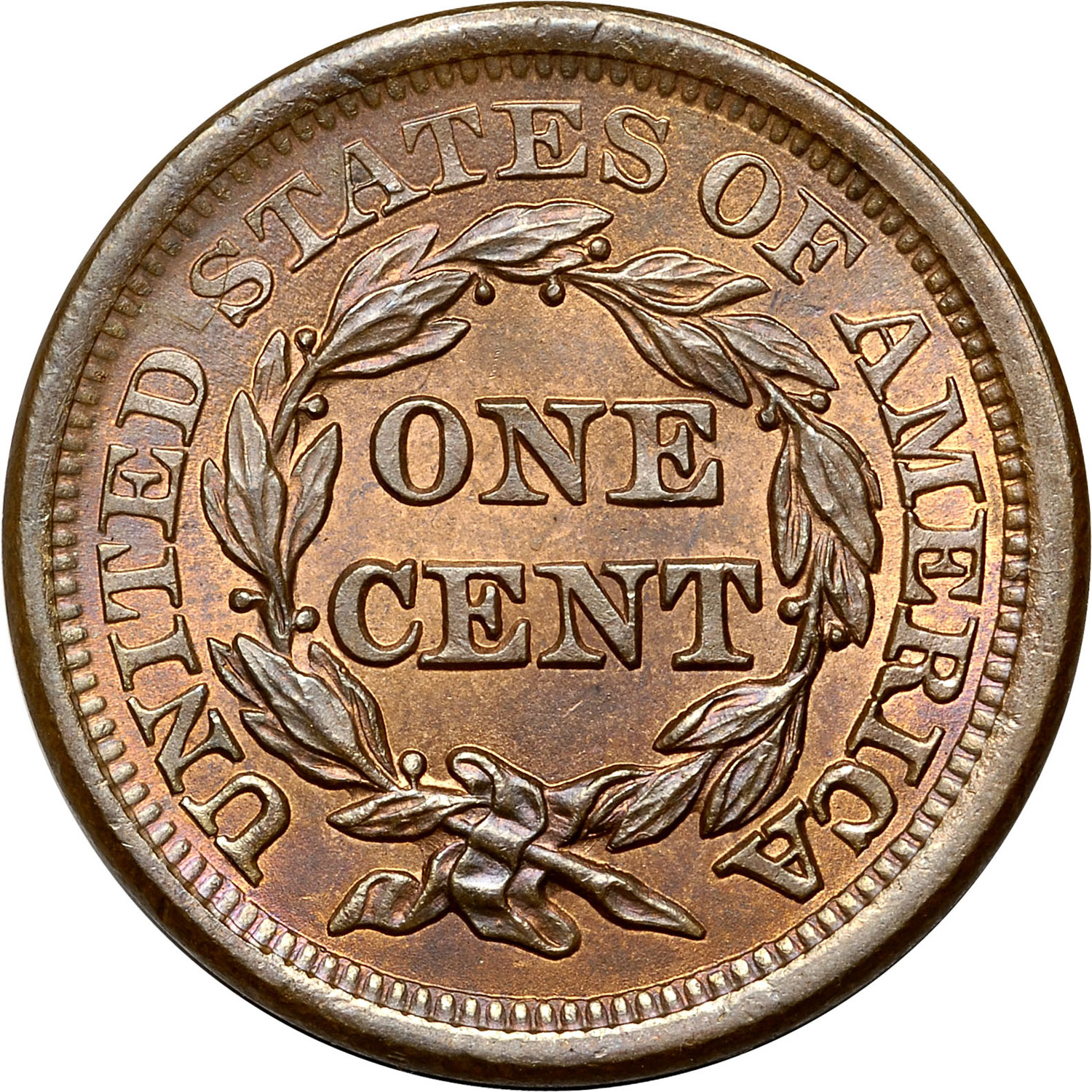 1854 1C MS Braided Hair Cents   NGC