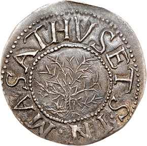 1652'IN'BOT OAK TREE MASSACHUSETTS 1S MS obverse