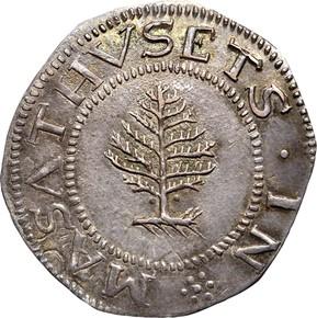 1652 PELLETS PINE TREE MASSACHUSETTS 1S MS obverse